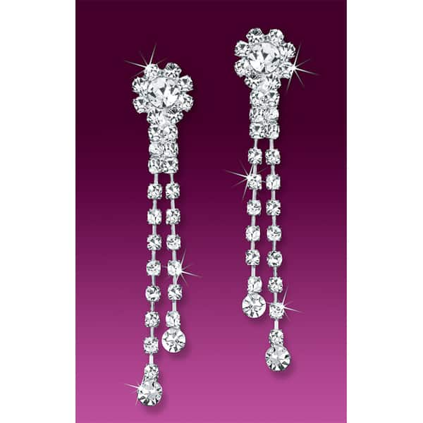 Rhinestone Dangle Clip-on Earrings