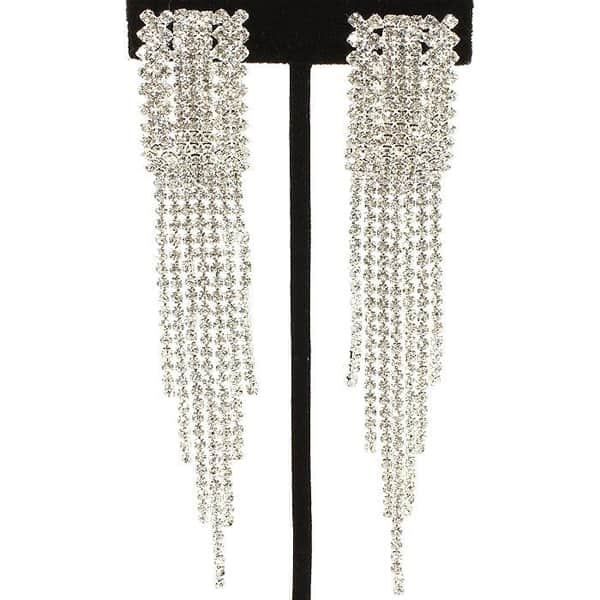 Oblong Rhinestone Clip-on Earrings