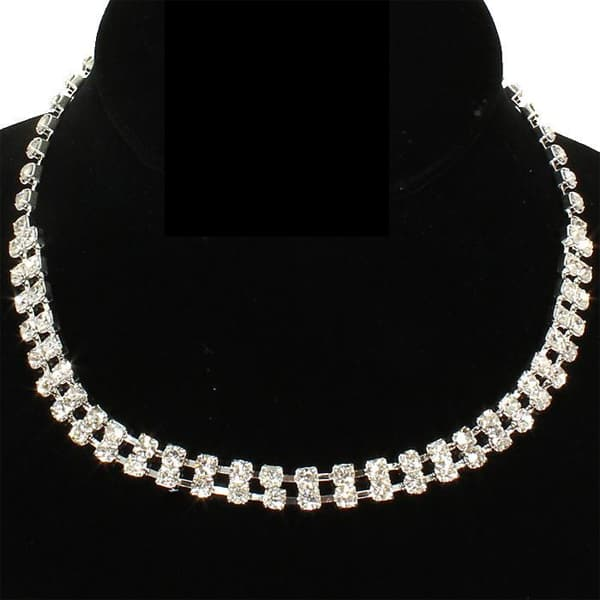 Two-Row Rhinestone Choker Necklace