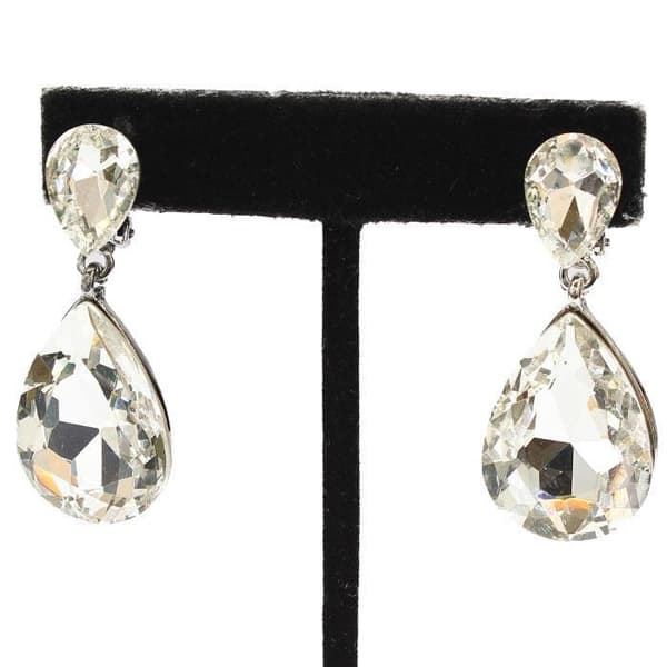 Clear Crystal Teardrop Clip-on Earrings