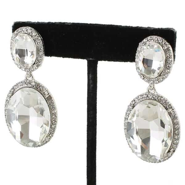 Clear Crystal Oval Clip-on Earrings