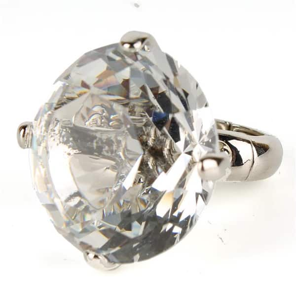 Clear Oversize Crystal Fashion Ring