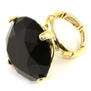 Black Oversize Crystal Fashion Ring