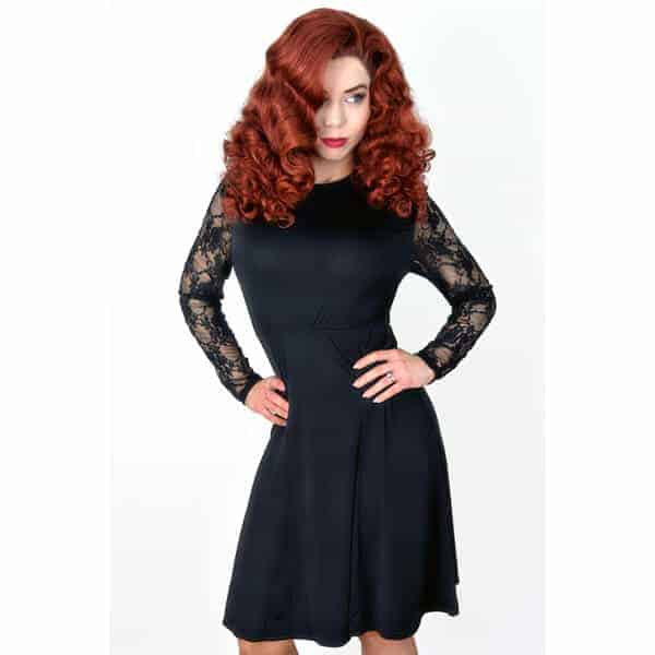 Black Flare Lace Sleeve Dress Glamour Boutique