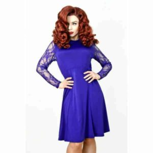Flare Purple Lace Sleeve Dress