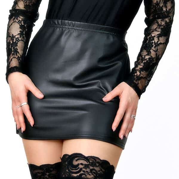 Stretch Pleather Mini Skirt